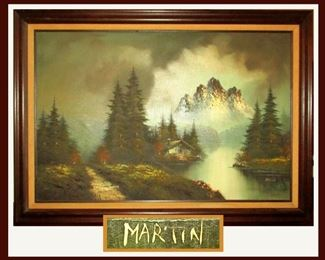 Large Oil Painting Signed Martin