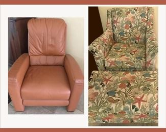 Lovely Leather Chair and Tropical Themed Chair and Matching Ottoman