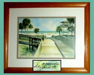 Lovely Little Signed Beach Print by Sarasota Artist Augusto Argandona