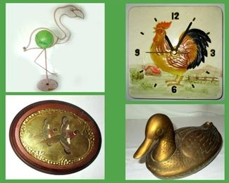 Metal Flamingo, Ceramic Rooster Clock, One of a Pair of Pheasant Plaques and Brass Duck