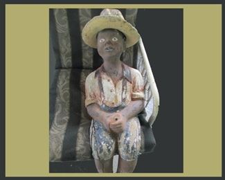 Large Old Cement Lawn Child with broken feet
