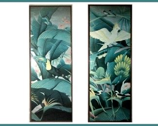 Pair of Very Attractive Tall Tropical Prints