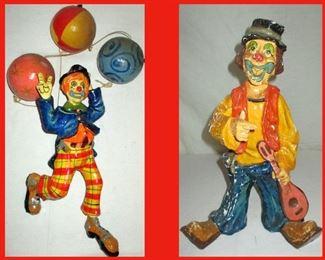 Pair of Papier Mache Clowns