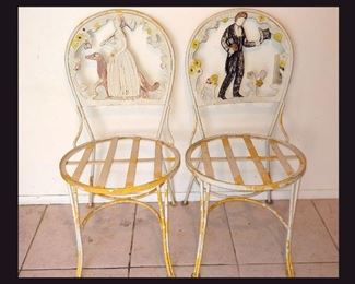 Pair of Very Cute Small Metal Chairs