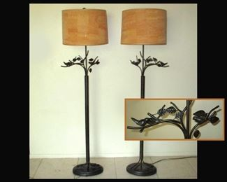 Pair of Very Nice Metal Floor Lamps with Birds on Branches