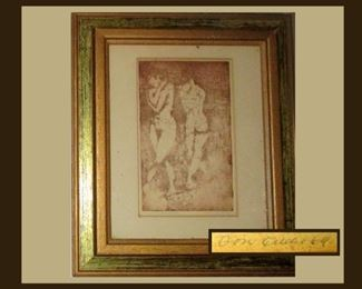 Signed, Titled, Framed and Dated Nude; 1969