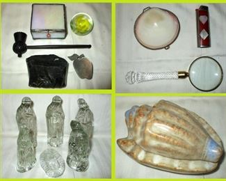 Sm Leaded Glass Box, Wooden Thistle Pipe, Small Paperweight, Chunk of Obsidian, Shell Box, Inlaid Lighter Holder, Crystal Handled Magnifying Glass, Avon Small Glass Nativity Set and Shell Box