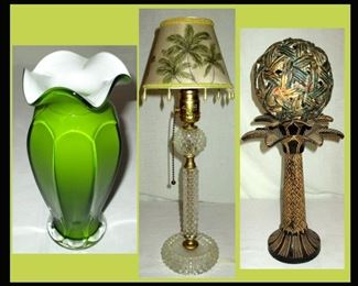 Cased Glass Vase, Small Lamp with Palm Tree Shade and Decorative Palm Tree