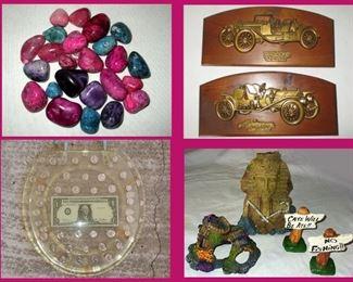 Small Colorful Stones, Car Plaques, Money Toilet Seat and Aquarium Decor