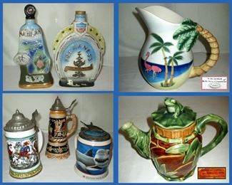 Decanters, Flamingo Pitcher, Steins and Frog Teapot
