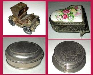 Car Bank, Vintage Piano Music Box,  Small Metal Box and Metal Coasters