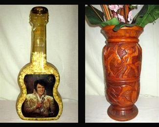 Tall Plastic Elvis Guitar and Tall Carved Hawaiian Vase