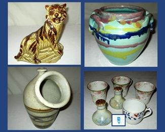 Tiger Decanter, Colorful Pot, Unusual Pottery and Limoges