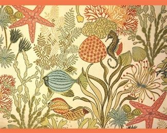 Close Up of Tropical Fabric on Living Room Furniture