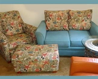 Tropically Themed Chair, Ottoman and Love Seat