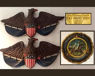 The Personal Touch C and E Ceramic Studio Eagles and Plate