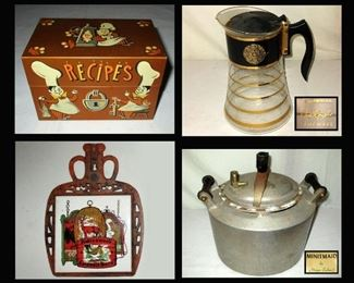 Vintage Recipe Box, David Douglas Mid Century Modern Coffee Carafe, Trivet with Pub Signs and Vintage Minitmaid Pot by Magic Cooker