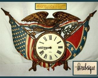 Vintage 1970 Burwood Patriotic Wall Clock, Arabesque Clock With American Eagle Old Glory And Colonial Flag