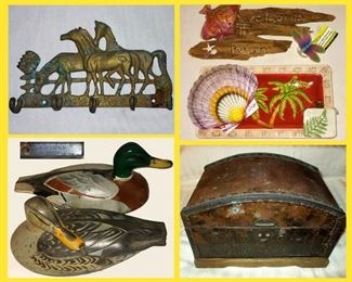 Brass Horses Key Holder, Beachy Items, Duck Decoys and Old Box