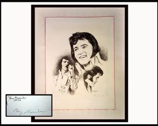 Penny Alexander, (Popular Portraitist) Signed Large Framed Elvis Sketch, Dated 1978