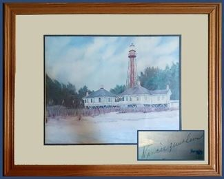 Very Nice Framed, Signed and Dated Lighthouse Print