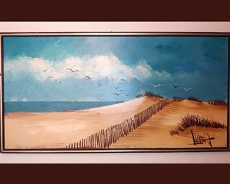Very Large Signed Painting of a Beautiful Beach