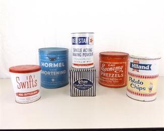 Lot of 6 Genuine 1950's etc. Advertising Tins