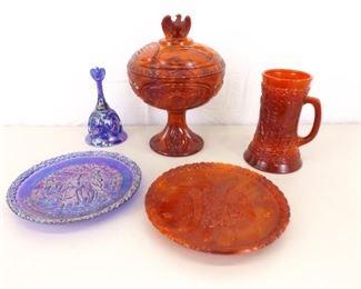 Vintage Fenton Bicentennial Red Slag and Carnival Glass Set
