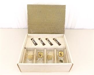 NEW Mid Century Galaxy 22k Gold Guilded Highball 4 Glass and Coaster Set
