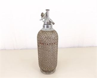 Vintage Wire Mesh Covered Glass Seltzer Bottle