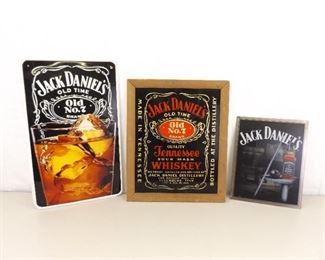 Vintage Liquor Advertising Jack Daniels No. 7 Mirror and 2 Metal Signs
