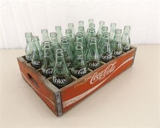 VintageCoca-ColaWood Coke Crate with 24 - 6.5 oz Coke Bottles