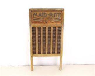 Antique Maid-Rite Wood Washboard