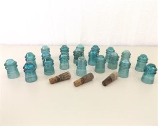 20 Antique Blue Hemingray 1893 etc. Glass Insulators