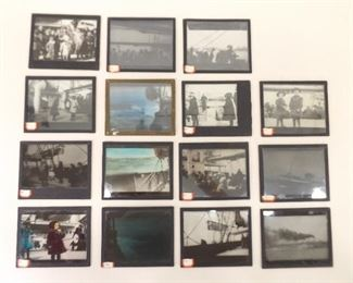 """15 Antique 3""""x 4"""" Magic Lantern Slides of Immigrants on a Boat to America"""