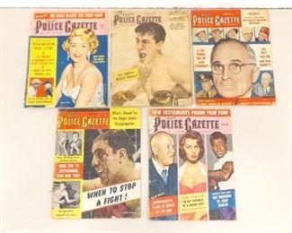 5 Vintage Police Gazette Magazines