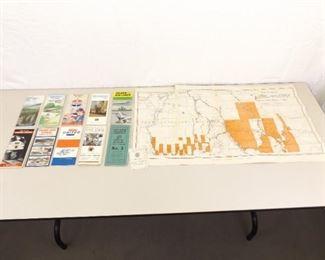 Lot of Vintage Railroad R.R. etc. Maps, Schedules, etc.