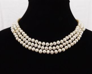 14k Yellow Gold Clasp and Accents 3 Strand Genuine Pearl Necklace