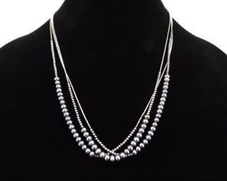 .925 Sterling Silver Genuine Black Pearl 3 Strand Necklace