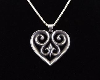 .925 Sterling Silver JAMES AVERY Heart Pendant Box Link Necklace