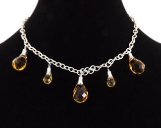 .925 Sterling Silver Faceted Citrine Crystal Dangle Formal Necklace