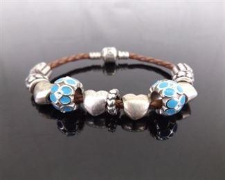 .925 Sterling Silver PANDORA Brown Leather Heart Charm Bracelet