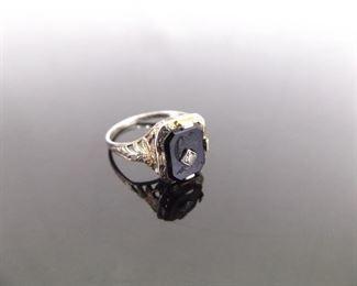 14k White Gold Antique Shriners Ring Size 4