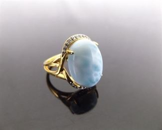 .925 Sterling Silver Larimar Cabochon Vermeil Ring Size 5