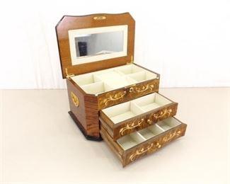 BEAUTIFUL Large Wood Locking Jewelry Box
