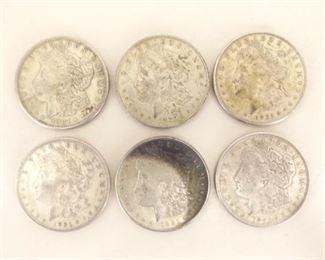 (6) 1921-S Morgan Silver Dollars