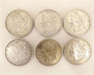 (6) 1921-D Morgan Silver Dollars
