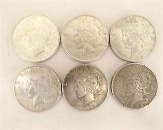 (6) 1922-D Peace Silver Dollars