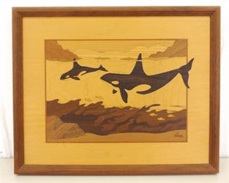 VERY Well Done Jeff Nelson Wood Inlay Orca Art