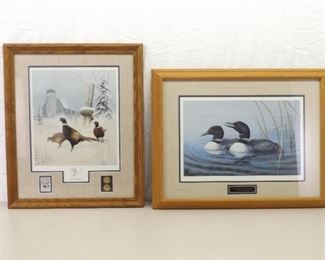 2 Signed and Numbered Wood Framed Loon and Pheasant Stamp Prints